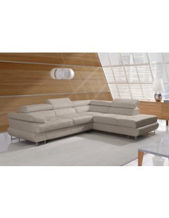 Canapé d'angle convertible en tissu beige ou anthracite ALBANY