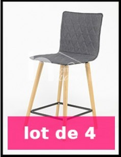 Chaise de bar scandinave grise PEARL (lot de 4)