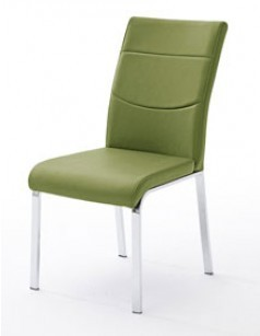 Chaise verte design en PU AMARIO (lot de 2)