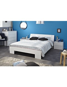 Chambre adulte compl te design couleur blanc laqu alabama for Chambre adulte laque blanc