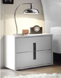Chevet design blanc et anthracite chambre adulte ARIA