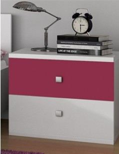 Table de chevet enfant 2 tiroirs contemporaine MAELYS, coloris rose et blanc