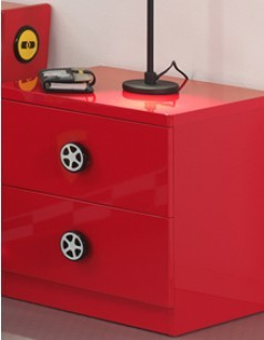 Chevet enfant rouge 2 tiroirs TURBOPOWER