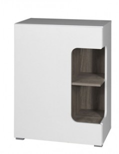 Commode enfant contemporaine 1 porte BLOOM, coloris blanc et truffe