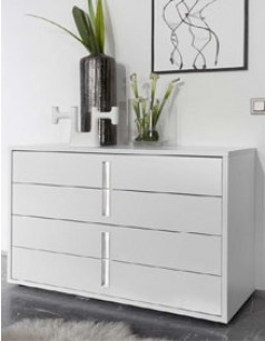 commode design blanche et chrom chambre adulte aliana - Commode Chambre Adulte