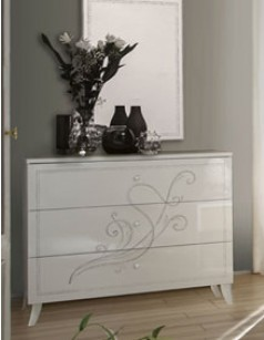 Commode design blanche chambre adulte ALTONE