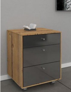 caisson de bureau adulte couleur noir laqu anthracite et pin wanda 3. Black Bedroom Furniture Sets. Home Design Ideas