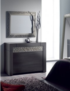 Commode adulte 4 tiroirs contemporaine CAMERON, coloris patiné gris plomb + reliefs