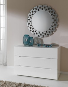 Commode adulte design laquée blanche URBANO, 3 tiroirs