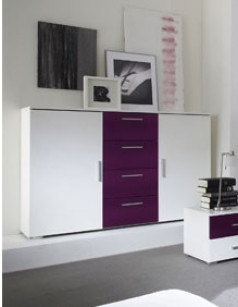 Commode lilas et blanc design CASSIS