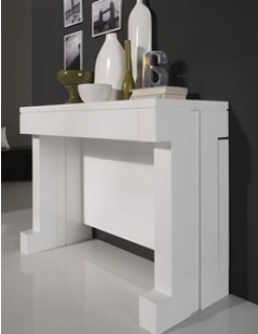 Console contemporaine BOUNTY, transformable en table à manger, laquée blanche