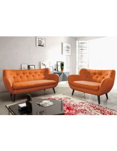 Salon complet 3 + 2 style scandinave AGLAE ORANGE, en tissu