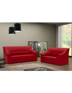 Salon fixe complet 3 + 2 en pvc ATLAS ROUGE