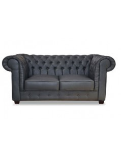 Fauteuil chesterfield gris vieilli de salon CITIZEN 2