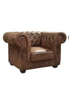 Fauteuil chesterfield marron vieilli de salon CITIZEN