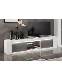 Grand meuble TV design blanc laqué ANTIQUA