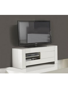 Grand meuble tv design blanc laqu totti - Television pas chere ...