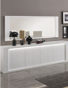 Grand miroir horizontal design blanc laqué ANTIQUA