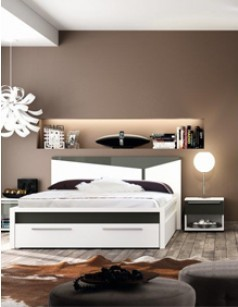 lit adulte design laqu blanc et gris ulvila avec tiroir frontal. Black Bedroom Furniture Sets. Home Design Ideas