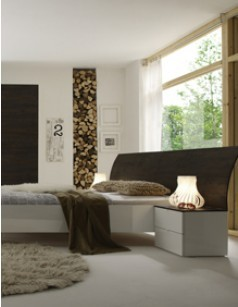 Lit adulte contemporain BROCELIA, coloris blanc + wengé, miel ou gris
