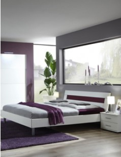 Lit adulte design bordeaux et blanc LIVIA, disponible en 4 dimensions