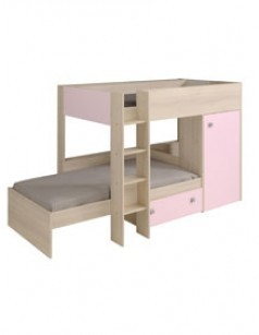 lit superpos combin enfant ado couleur bois blanc et. Black Bedroom Furniture Sets. Home Design Ideas