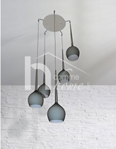 Suspension basse grise 5 lampes BRONTI