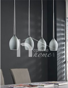 Suspension 4 lampes en verre gris EDITH 3