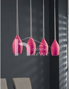 Suspension verre mat rose EDITH
