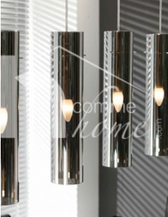 Luminaire suspension design ORION, 4 diffuseurs, structure en nickel chromé