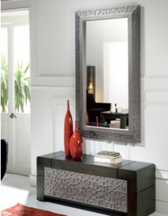 meuble d 39 entr e bas avec miroir contemporain cameron coloris patin gris plomb reliefs. Black Bedroom Furniture Sets. Home Design Ideas