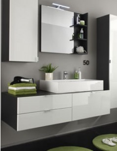 Meuble lavabo suspendu gris et blanc brillant SPLASH