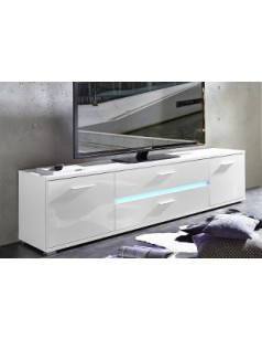 Meuble tv lumineux laqu blanc brillant design zabel for Meuble tv mural fabrication italienne