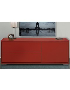 Meuble TV 1 porte - 2 tiroirs design TRENDY ROUGE