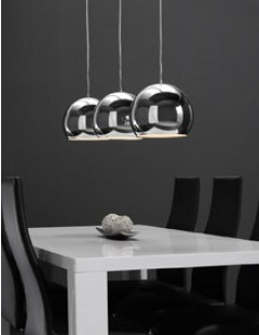 Suspension design gris argenté 3 lampes SILVER