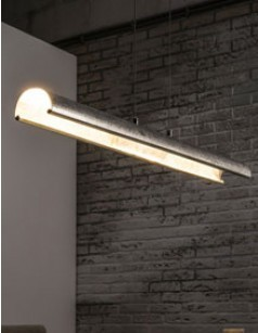 Suspension design LED argenté ECLAIR