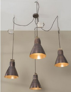 Suspension industrielle 4 lampes en cuivre LOYD
