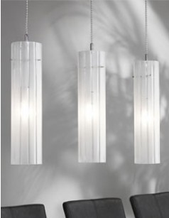 Luminaire suspension design en verre et nickel mat CHARON