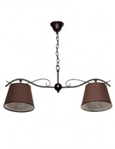Suspension contemporaine 2 branches RADIA, coloris noir et marron