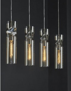 Luminaire suspension en verre ambré et nickel mat design HAMI