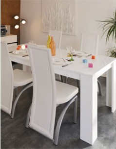 Table à manger design blanc brillant SPARTE
