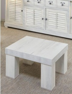 Table d'appoint contemporaine couleur blanc bois LANETTE