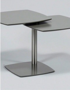 Table d'appoint design MALINO II, 2 plateaux rotatifs, coloris gris anthracite