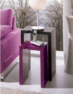 Table d'appoint design JANE, coloris noir ou violine