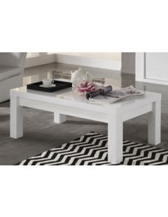 Table basse design rectangulaire blanc laquée ANTIQUA