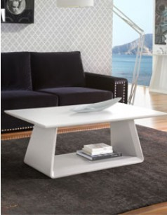 Table basse design laqué blanc mat TENDA