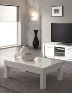 Table basse rectangulaire design laquée blanche MIAMI