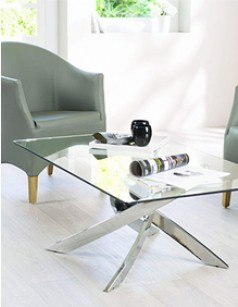 Table basse rectangulaire design RIGA, en verre et chrome