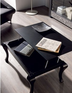 Table basse relevable contemporaine CAMERON, coloris noir satiné, blanc satiné ou patiné gris plomb