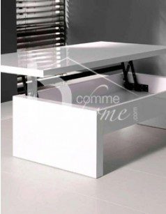 Table basse relevable design laquée blanc brillant YUMI